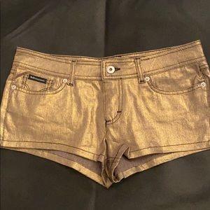 Dolce and Gabbana metallic gold shorts